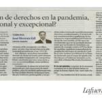 LIMITACIÓN DE DERECHOS EN LA PANDEMIA, ¿PROPORCIONAL Y EXCEPCIONAL?